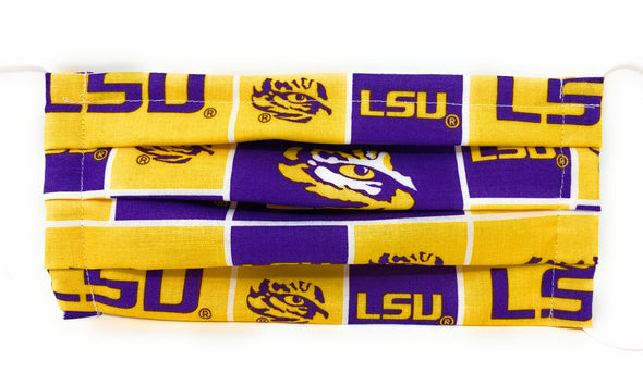 LSU Tigers Face Mask - Pleated with Nose Wire Filter Pocket US made
