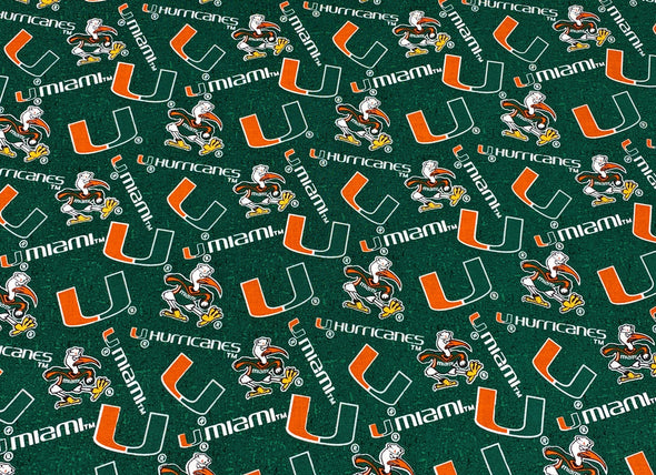 Miami Hurricanes Face Mask Pleated with Nose Wire Filter Pocket US made