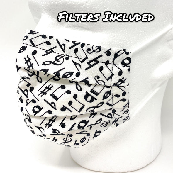 Musical Notes Face Mask - Pleated Nose Wire Filter Pocket US made - Filters Included