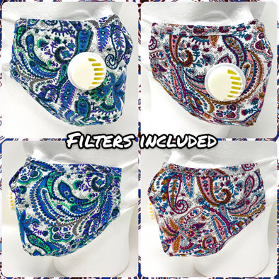 Bandana Print Colorful Face Mask SAFE Breathing Valve Filter Pocket Nose Wire