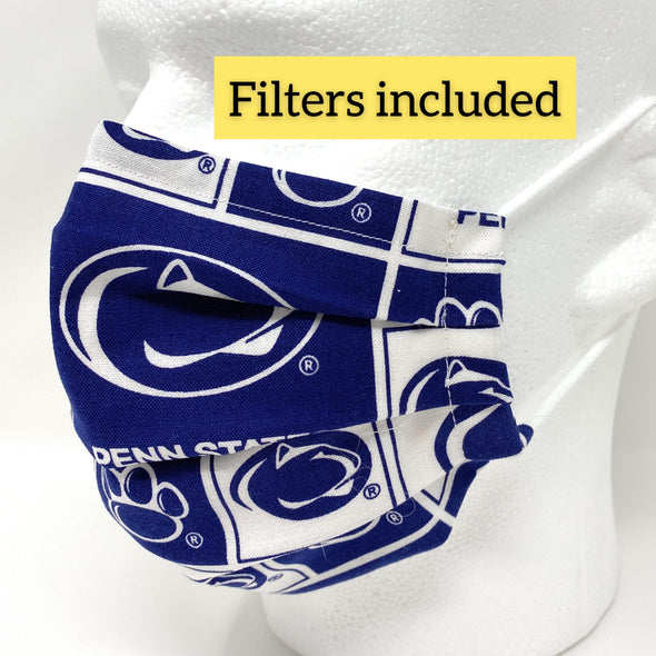 Penn State Nittany Lions Face Mask with Nose Wire Filter Pocket Pleated