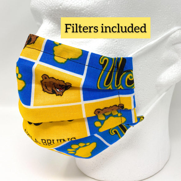 UCLA Bruins Face Mask Nose Wire Filter Pocket Pleated - University of California