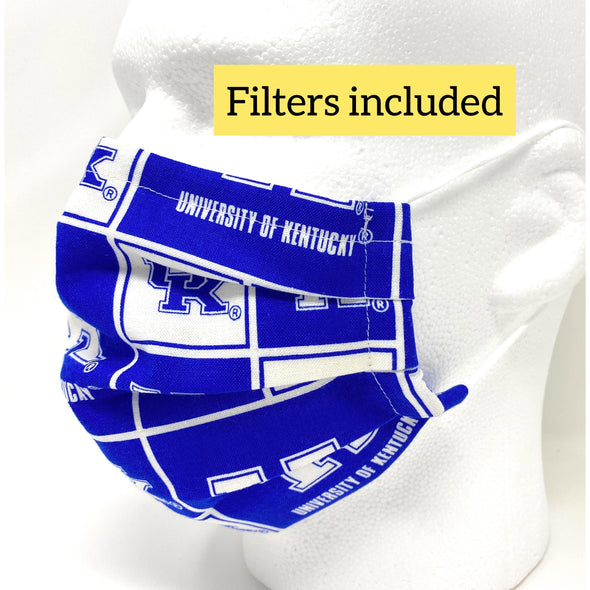 UK Kentucky Wildcats Face Mask - Pleated with Nose Wire Filter Pocket US made
