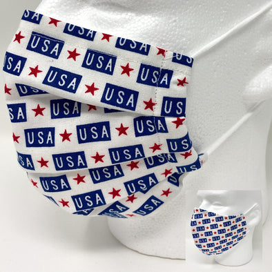 USA Stars Face Mask Reusable with Nose Wire Filter Pocket - 2 Styles