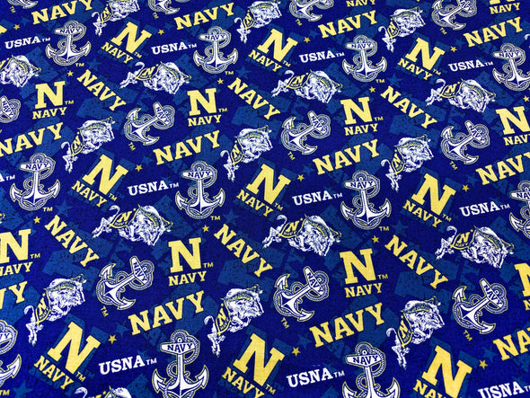 USNA Face Mask - Pleated with Nose Wire Filter Pocket - Midshipman Football