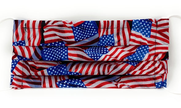 US Flag Face Mask - Pleated with Nose Wire Filter Pocket - Filters Included