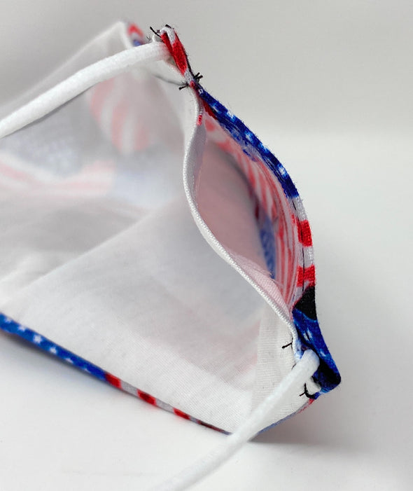 USA Flag Face Mask Reusable with Nose Wire Filter Pocket - 2 Styles
