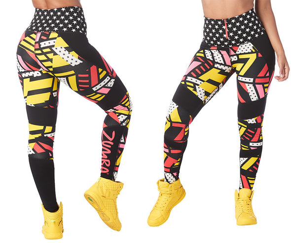 Zumba Victory High Waisted Ankle Leggings - Bold Black Z1B00757 XS