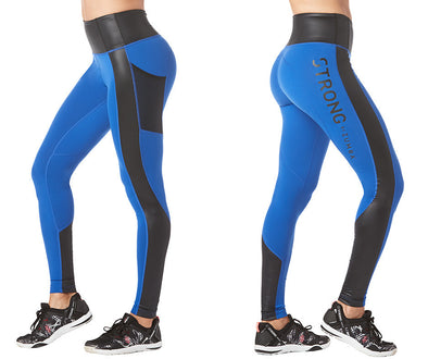 Strong by Zumba Get Amped Panel Long Leggings - Surfs Up Blue Z1B00793