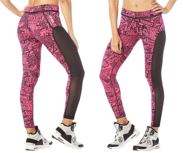 Zumba Courage Piped Ankle Leggings - Shocking Pink Z1B00803