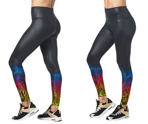 Zumba Seventies High Waisted Ankle Leggings - Bold Black Z1B00831