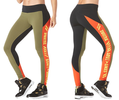 Zumba Love Over Likes Panel Ankle Leggings - Army Green Z1B00854