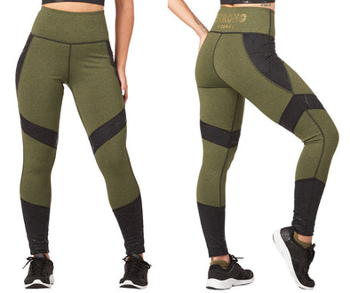 Strong by Zumba Don't Mesh With Me High Waisted Ankle Leggings - Olive Z1B00869