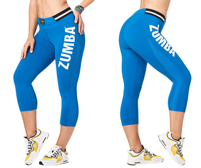 Zumba All Star High Waist Capri Leggings - True Blue Z1B00875