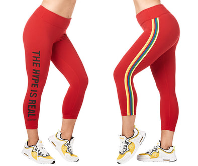 Zumba Varsity Crop Leggings - Viva La Red Z1B00876