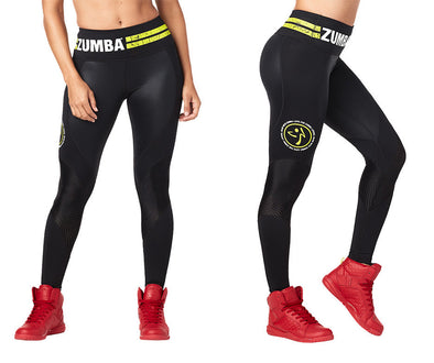Zumba Varsity High Waist Ankle Leggings - Bold Black Z1B00877
