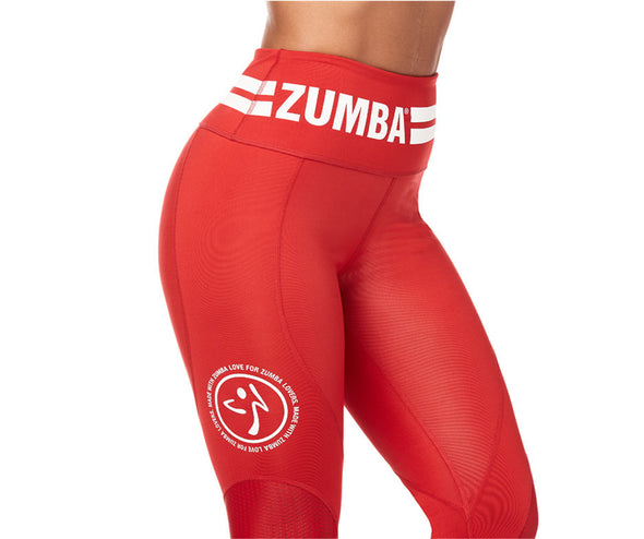 Zumba Varsity High Waist Ankle Leggings - Viva La Red Z1B00877 XS