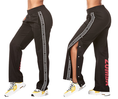 Zumba Varsity Tear-Away Track Pants - Bold Black Z1B00882