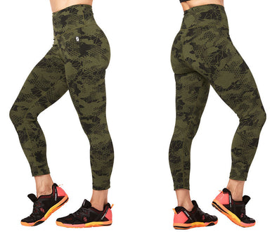 STRONG By Zumba Camo Rep Crop Leggings - Olive Green Z1B00885