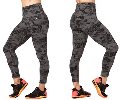 STRONG By Zumba Camo Rep Crop Leggings - Heather Grey Z1B00885