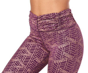Zumba All That Glitters Is Zumba High Waisted Ruched Leggings - Plum Z1B00892