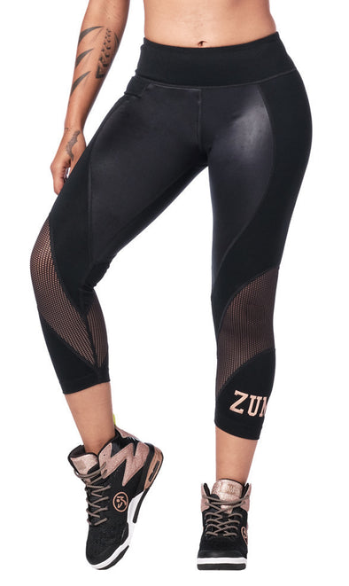 Zumba Dance Tribe Panel Crop Leggings - Bold Black Z1B00945 XS