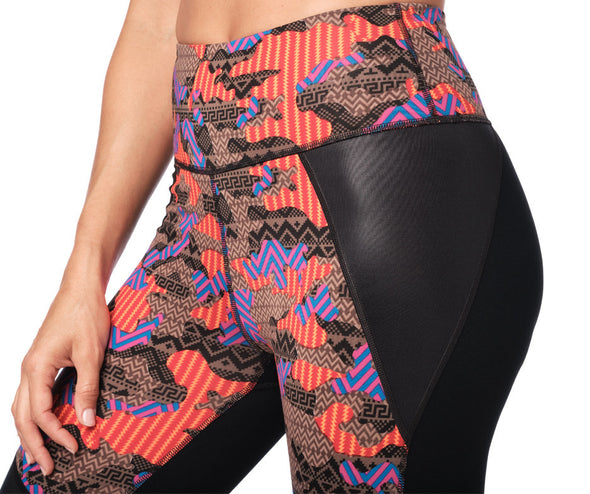 Zumba Dance Tribe High Waisted Panel Ankle Leggings - Bold Black Z1B00949
