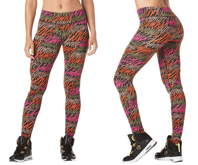 Zumba Be About Love Perfect Long Leggings - Army Green Z1B00958