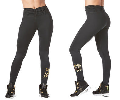 Zumba Love Ruched High Waisted Leggings - Bold Black Z1B00959