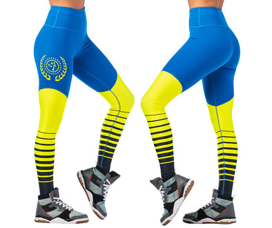 Zumba Sport High Waisted Long Leggings - Jersey Blue Z1B00964