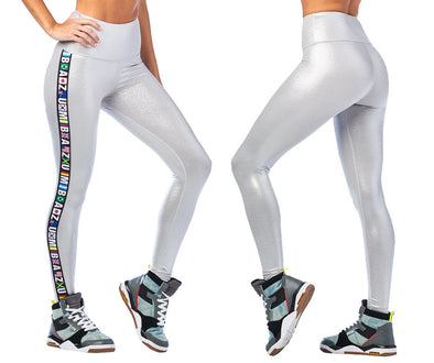 Zumba Metallic High Waisted Ankle Leggings - Silver Z1B00968