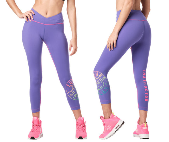Zumba Original V High Waisted Instructor Crop Leggings - Purple Pop Z1B01022