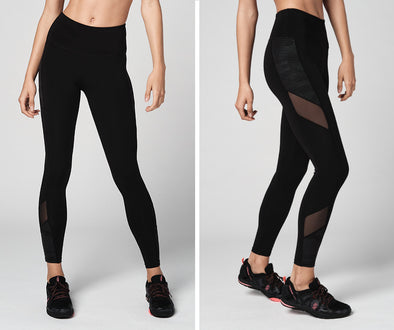 Strong Nation Reflective High Waisted Mesh Leggings - Black Z1B01097