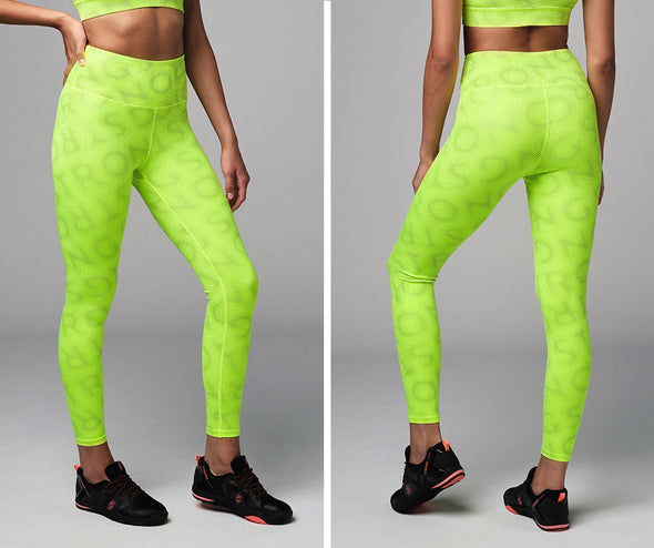 Strong Nation Reflective Laser High Waisted Leggings - Neon Yellow Z1B01109