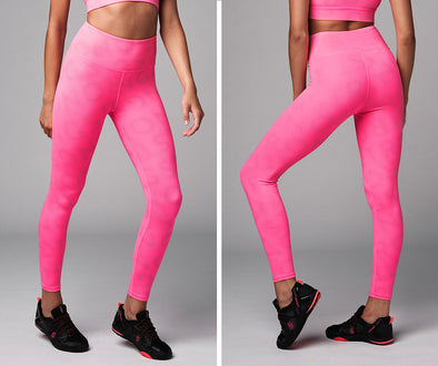 Strong Nation Reflective Laser High Waisted Leggings - Neon Pink Z1B01111