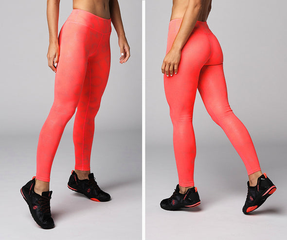 Strong Nation Reflective Laser High Waisted Leggings - Neon Orange Z1B01112