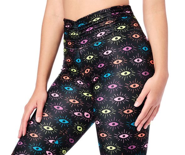 Zumba Luck High Waisted Ruched Leggings - Bold Black Z1B01121