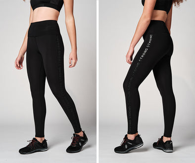 Strong Nation STRONG ID Printed Logo High Waisted Leggings - Black Z1B01158