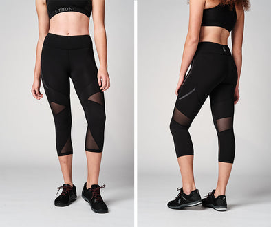 Strong Nation STRONG ID Mesh Panel Capri Leggings - Black Z1B01165