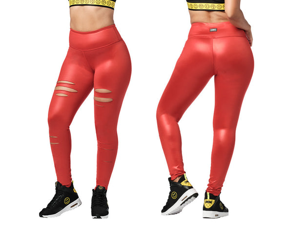 Zumba Slashed High Waisted Long Leggings - Ruby Z1B01196