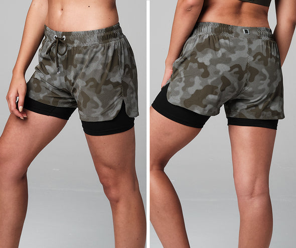 STRONG ID Drop And Give Me Reflective Camo Double Layer Shorts - Military Z1B01242