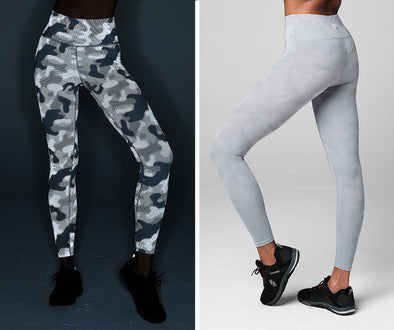 STRONG ID Drop And Give Me Reflective Camo Ankle Leggings - Gray Z1B01245
