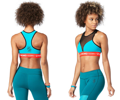 STRONG by Zumba Squat Sync Sweat High Neck Bra - No Big Teal Z1T01518