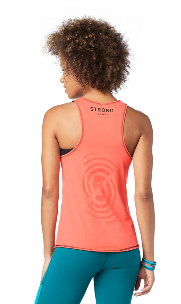 Strong By Zumba Squat Sync Sweat Instructor Tank - Coral Craze Z1T01520