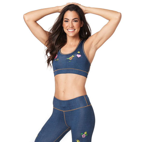 Zumba Celebrate Love Scoop Bra - Love Denim Z1T01593