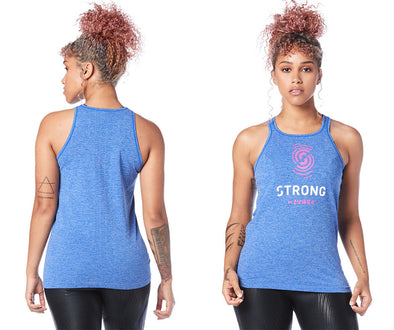 Strong by Zumba Don't Miss A Beat Seamless Tank - Surfs Up Blue Z1T01623