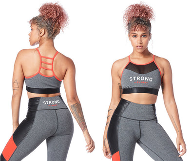 Strong by Zumba Don't Miss A Beat High Neck Bra - Heather Grey Z1T01636