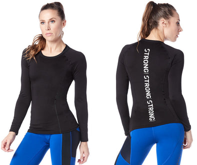 Strong by Zumba Work Every Muscle Long Sleeve Top - Bold Black Z1T01656