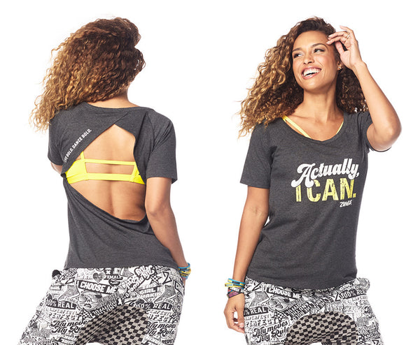 Zumba Fierce Female Open Back Top - Bold Black Z1T01673