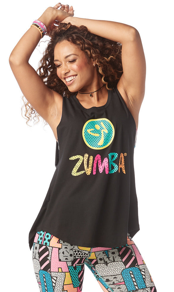 Zumba Dance Outside Open Back Tank - Bold Black Z1T01709